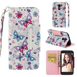Colored Butterfly Big Metal Buckle PU Leather Wallet Phone Case for LG K10 (2018)