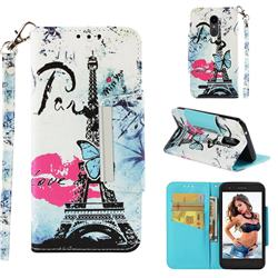 Lip Tower Big Metal Buckle PU Leather Wallet Phone Case for LG K10 (2018)