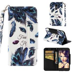 Peacock Feather Big Metal Buckle PU Leather Wallet Phone Case for LG K10 (2018)