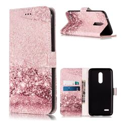 Glittering Rose Gold PU Leather Wallet Case for LG K10 (2018)