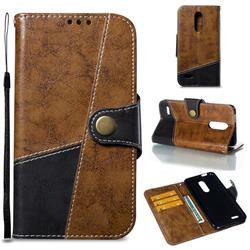 Retro Magnetic Stitching Wallet Flip Cover for LG K10 (2018) - Brown