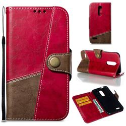 Retro Magnetic Stitching Wallet Flip Cover for LG K10 (2018) - Rose Red