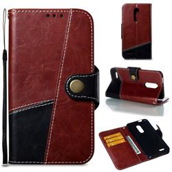Retro Magnetic Stitching Wallet Flip Cover for LG K10 (2018) - Dark Red