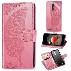 Embossing Mandala Flower Butterfly Leather Wallet Case for LG K10 (2018) - Pink