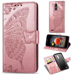 Embossing Mandala Flower Butterfly Leather Wallet Case for LG K10 (2018) - Rose Gold