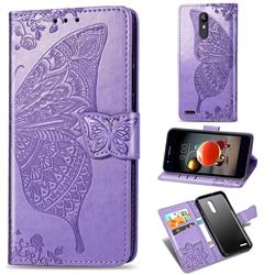Embossing Mandala Flower Butterfly Leather Wallet Case for LG K10 (2018) - Light Purple