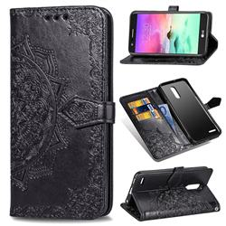 Embossing Imprint Mandala Flower Leather Wallet Case for LG K10 (2018) - Black