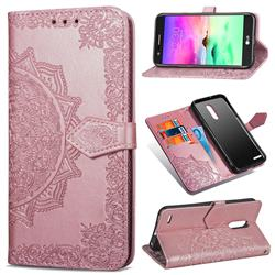 Embossing Imprint Mandala Flower Leather Wallet Case for LG K10 (2018) - Rose Gold