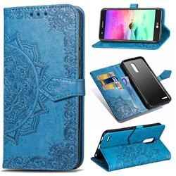 Embossing Imprint Mandala Flower Leather Wallet Case for LG K10 (2018) - Blue