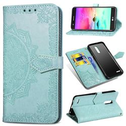 Embossing Imprint Mandala Flower Leather Wallet Case for LG K10 (2018) - Green