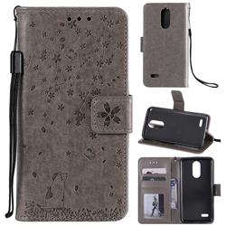 Embossing Cherry Blossom Cat Leather Wallet Case for LG K10 (2018) - Gray