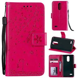 Embossing Cherry Blossom Cat Leather Wallet Case for LG K10 (2018) - Rose