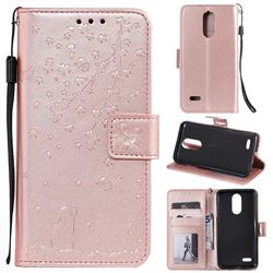 Embossing Cherry Blossom Cat Leather Wallet Case for LG K10 (2018) - Rose Gold