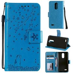 Embossing Cherry Blossom Cat Leather Wallet Case for LG K10 (2018) - Blue