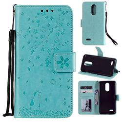 Embossing Cherry Blossom Cat Leather Wallet Case for LG K10 (2018) - Green