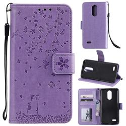 Embossing Cherry Blossom Cat Leather Wallet Case for LG K10 (2018) - Purple