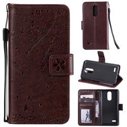Embossing Cherry Blossom Cat Leather Wallet Case for LG K10 (2018) - Brown