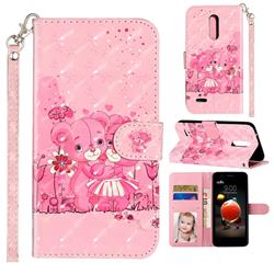 Pink Bear 3D Leather Phone Holster Wallet Case for LG K10 (2018)