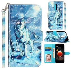 Snow Wolf 3D Leather Phone Holster Wallet Case for LG K10 (2018)