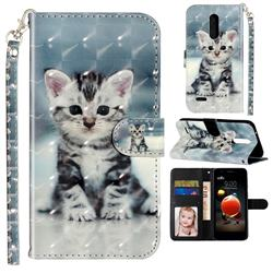 Kitten Cat 3D Leather Phone Holster Wallet Case for LG K10 (2018)