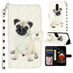 Pug Dog 3D Leather Phone Holster Wallet Case for LG K10 (2018)