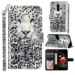 White Leopard 3D Leather Phone Holster Wallet Case for LG K10 (2018)