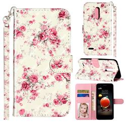 Rambler Rose Flower 3D Leather Phone Holster Wallet Case for LG K10 (2018)