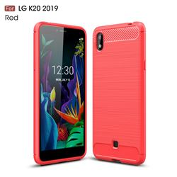 Luxury Carbon Fiber Brushed Wire Drawing Silicone TPU Back Cover for LG K20 (2019) - Red
