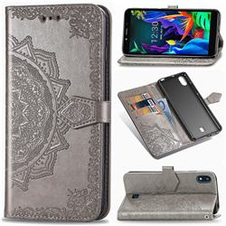 Embossing Imprint Mandala Flower Leather Wallet Case for LG K20 (2019) - Gray