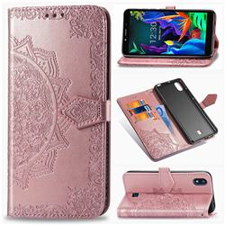 Embossing Imprint Mandala Flower Leather Wallet Case for LG K20 (2019) - Rose Gold