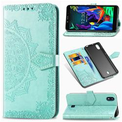 Embossing Imprint Mandala Flower Leather Wallet Case for LG K20 (2019) - Green