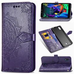 Embossing Imprint Mandala Flower Leather Wallet Case for LG K20 (2019) - Purple