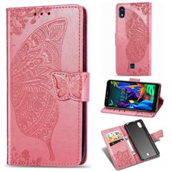 Embossing Mandala Flower Butterfly Leather Wallet Case for LG K20 (2019) - Pink