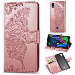 Embossing Mandala Flower Butterfly Leather Wallet Case for LG K20 (2019) - Rose Gold