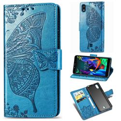 Embossing Mandala Flower Butterfly Leather Wallet Case for LG K20 (2019) - Blue
