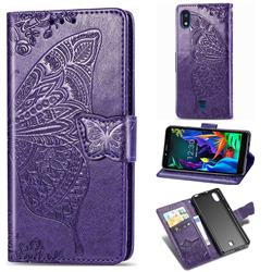 Embossing Mandala Flower Butterfly Leather Wallet Case for LG K20 (2019) - Dark Purple