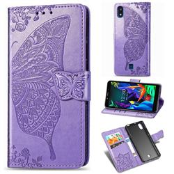 Embossing Mandala Flower Butterfly Leather Wallet Case for LG K20 (2019) - Light Purple