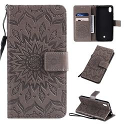 Embossing Sunflower Leather Wallet Case for LG K20 (2019) - Gray