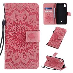 Embossing Sunflower Leather Wallet Case for LG K20 (2019) - Pink