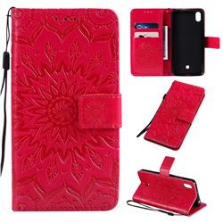 Embossing Sunflower Leather Wallet Case for LG K20 (2019) - Red