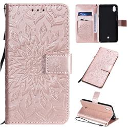 Embossing Sunflower Leather Wallet Case for LG K20 (2019) - Rose Gold