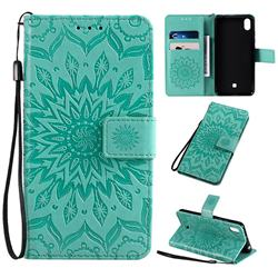 Embossing Sunflower Leather Wallet Case for LG K20 (2019) - Green