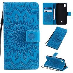 Embossing Sunflower Leather Wallet Case for LG K20 (2019) - Blue