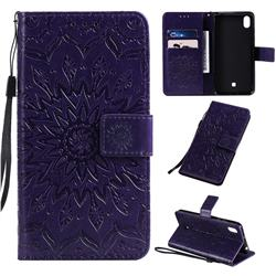 Embossing Sunflower Leather Wallet Case for LG K20 (2019) - Purple
