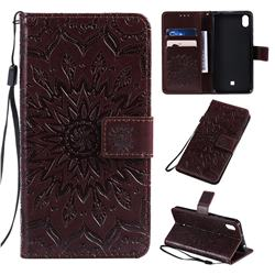 Embossing Sunflower Leather Wallet Case for LG K20 (2019) - Brown