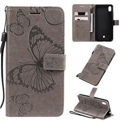 Embossing 3D Butterfly Leather Wallet Case for LG K20 (2019) - Gray