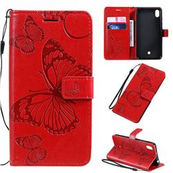 Embossing 3D Butterfly Leather Wallet Case for LG K20 (2019) - Red