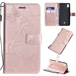 Embossing 3D Butterfly Leather Wallet Case for LG K20 (2019) - Rose Gold