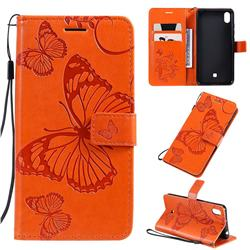 Embossing 3D Butterfly Leather Wallet Case for LG K20 (2019) - Orange