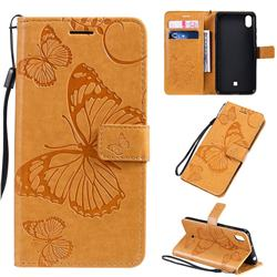 Embossing 3D Butterfly Leather Wallet Case for LG K20 (2019) - Yellow